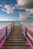 Wooden jetty with blue sky at Sabah, Malaysia, Borneo Stock Image