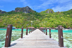 Wooden jetty in Bohey Dulang Island Stock Photos