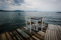 Wooden jetty on Corfu stock photography