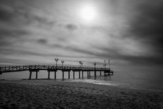 Wooden jetty in the Costa del Sol, Spain Stock Photography