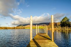 Wooden jetty on Derwentwater Royalty Free Stock Image