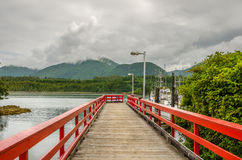 Wooden Jetty. Empty Wooden Jetty to the Fishing Harbour, Ucluelet, British Columbia, Canada Stock Images