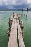 Wooden jetty on exotic beach Koh Chang island Royalty Free Stock Photography