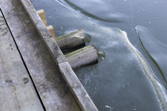 Wooden jetty in frozen water Stock Image