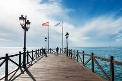 Wooden Jetty In The Costa Del Sol, Spain Royalty Free Stock Photos