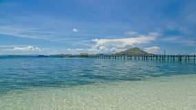 Wooden jetty. On the island of Kanawa Indonesia Stock Images
