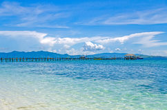 Wooden jetty on the island of Kanawa. Indonesia Stock Images