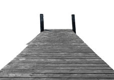 Wooden jetty isolated. Wooden jetty pier isolated on white background Stock Photography