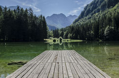 Wooden jetty on lake Royalty Free Stock Images