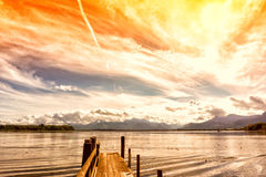 Wooden jetty 251 lake chiemsee Royalty Free Stock Photos