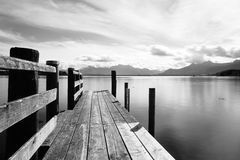 Wooden jetty 249 lake chiemsee Royalty Free Stock Photo
