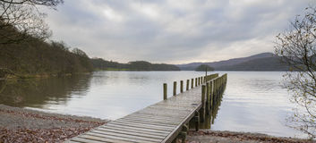 Wooden jetty  in the lake district Royalty Free Stock Images