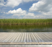 Wooden jetty on the lake Stock Photo
