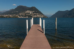 Wooden jetty on lake Maggiore Stock Photo