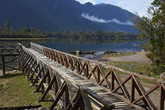 Wooden jetty on Lake Rosselot in the Aysen Region of Chile. Wooden jetty on the edge of the calm waters of Lake Rosselot located along the Carretera Austral in stock images