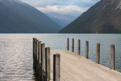 Wooden jetty at lake Rotoiti Royalty Free Stock Photography