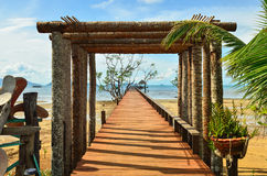 Wooden jetty leading to sea of Koh Mak island Royalty Free Stock Photos