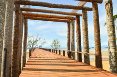 Wooden jetty leading to sea of Koh Mak island Stock Images