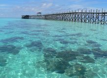 Wooden jetty, Mabul Island. Wooden jetty,Tropical beach Borneo Malaysia,Sabah Royalty Free Stock Photography