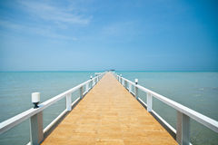Wooden jetty over sea Royalty Free Stock Images