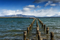 Wooden jetty in Puerto Natales Royalty Free Stock Photo