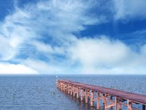 Wooden jetty and the sea Royalty Free Stock Image