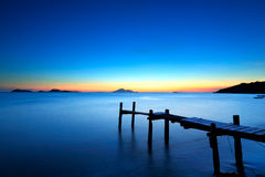 Wooden jetty with seascape Stock Photo