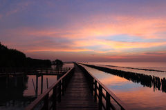 Wooden jetty on seaside. With twilight sky background Royalty Free Stock Photography