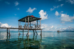Wooden jetty. A shot of a wooden jetty taken in Selakan Island, Sabah Malaysia Royalty Free Stock Image
