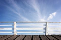 Wooden jetty and sky Stock Images