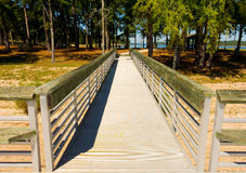 A wooden jetty at a state park Royalty Free Stock Photography