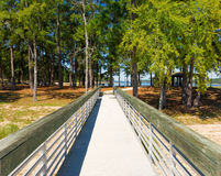 A wooden jetty at a state park Stock Image