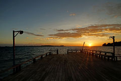 Wooden jetty on sunny Stock Photography
