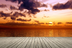 Wooden jetty sunset Royalty Free Stock Photos