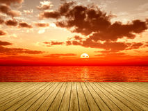 Wooden jetty sunset Royalty Free Stock Images