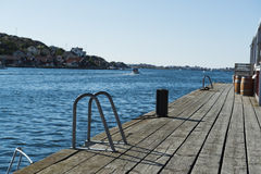 Jetty. Wooden jetty in the Swedish west coast archipelago Stock Image