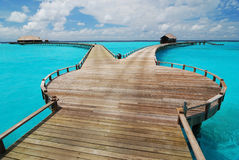 Wooden jetty with two different ways Royalty Free Stock Images