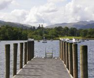 The Wooden Jetty on Windermere Stock Photo