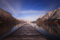 Wooden jetty in a winter morning Royalty Free Stock Photography
