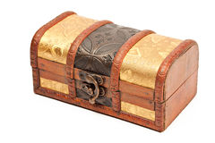 Wooden jewellery box isolated Royalty Free Stock Images