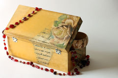 Wooden jewelry box. Decorated with decoupage technique Royalty Free Stock Image