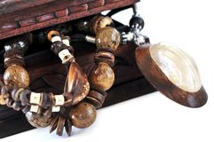 Wooden jewelry box Stock Image