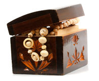 Wooden jewelry box with accessories Stock Photo