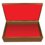 Wooden jewelry box. With red upholstery. Vector illustration Stock Photography