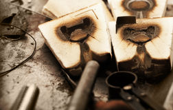 Wooden jewelry molds stock images