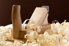 Wooden jointer with shavings Royalty Free Stock Image