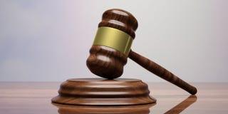 Wooden judge or auction gavel on a desk. 3d illustration. Wooden judge or auction gavel on a wooden table. 3d illustration Stock Image