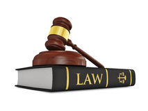 Wooden judge gavel on law book Stock Images