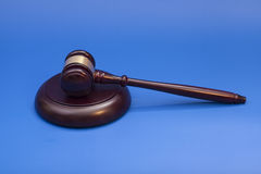 Wooden judge gavel and soundboard Stock Photos