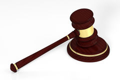 Wooden judge gavel and soundboard. Stock Photography